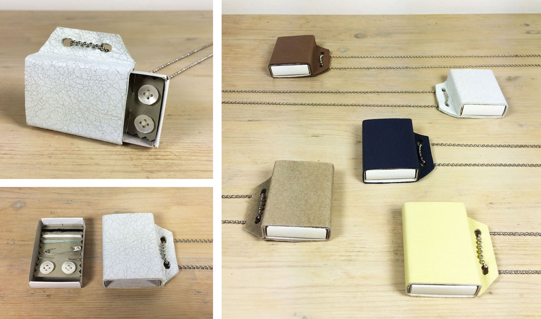 wishbox necklaces | matchbox with leather or suede cover | Annienke